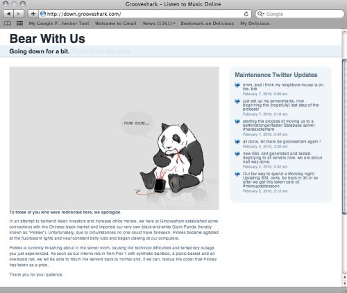 Grooveshark Maintenance Landing Page