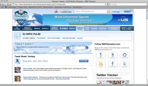 NBC Olympics Twitter Aggregator