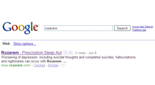 Rozerem bad SEO example